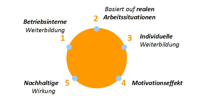 Diagramm der fünf Prinzipien, auf denen die Soufflearningmethode für betriebsinterne Weiterbildung basiert